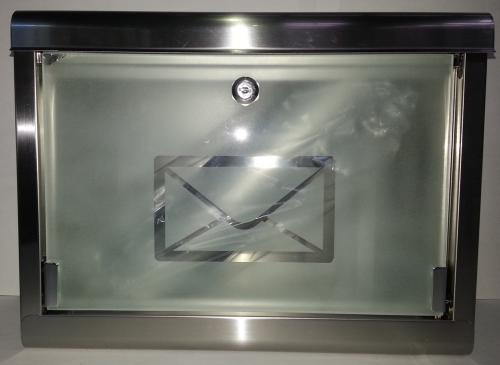 super 051 design briefkasten mit glast r zeitungsrolle geb rstetes edelstahl ebay. Black Bedroom Furniture Sets. Home Design Ideas