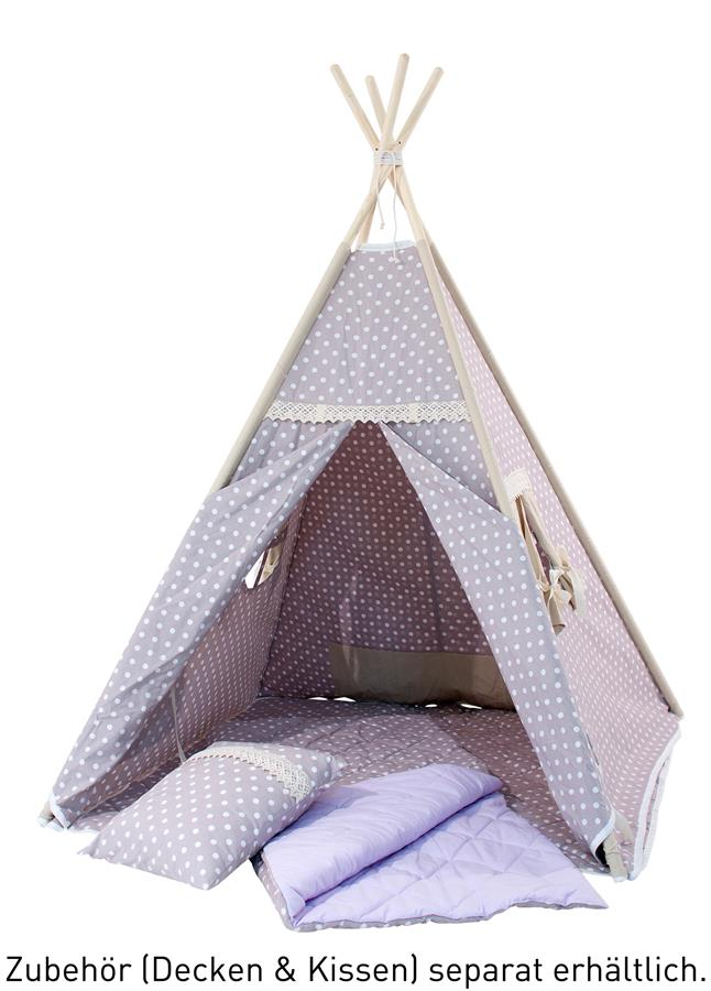 teepee kinder spielzelt tipi indianerzelt 100 baumwolle kotex 100 rose h 150cm ebay. Black Bedroom Furniture Sets. Home Design Ideas