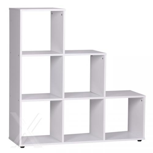 wohnregal regal ablage standregal w rfel in weiss mit 6 f chern ebay. Black Bedroom Furniture Sets. Home Design Ideas