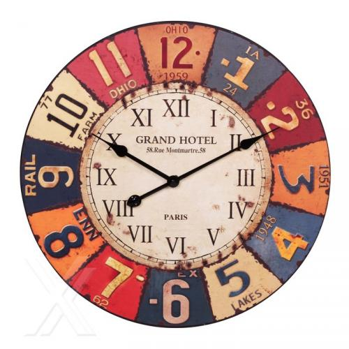 wanduhr vintage look uhr grosse zeiger bunt holz 60cm 232 ebay. Black Bedroom Furniture Sets. Home Design Ideas
