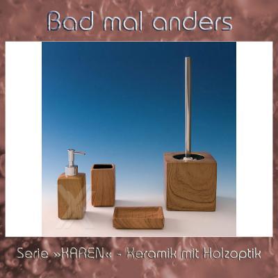 Seifenspender Seifenschale Zahnputzbecher WC-Bürstengarnitur ... | {Seifenspender holzoptik 14}