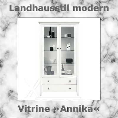 Vitrine Vitrinenschrank Küchenschrank Schrank Landhaus weiß lackiert ...