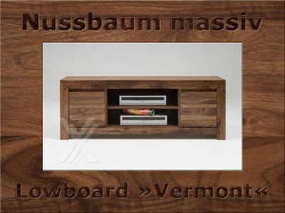 Das Bild Wird Geladen Media TV Lowboard Wohnzimmerschrank Schrank Holz Massiv Nussbaum