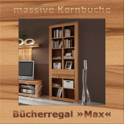 b cherregal regal wohnzimmerregal kernbuche massiv ge lt 203cm h he 12 f cher ebay. Black Bedroom Furniture Sets. Home Design Ideas
