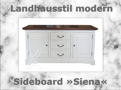 sideboard esszimmerschrank anrichte wei cognacfarben teilmassiv akazie landhaus ebay. Black Bedroom Furniture Sets. Home Design Ideas