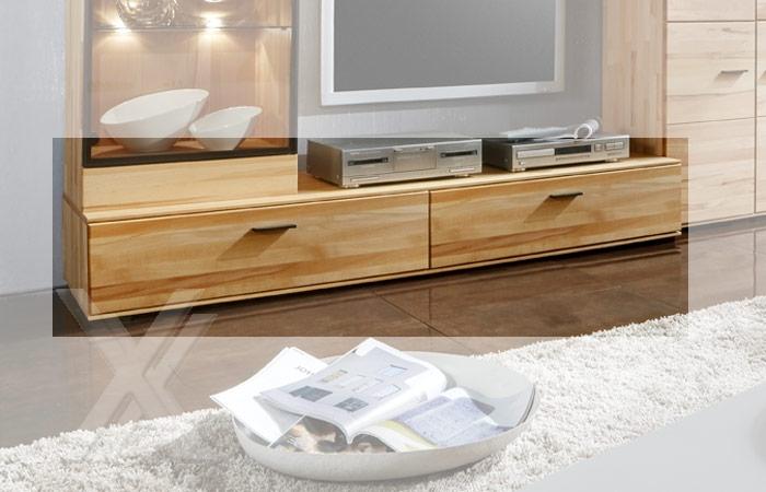 media tv lowboard wohnzimmerschrank ablage kernbuche massiv ge lt 180cm breite ebay. Black Bedroom Furniture Sets. Home Design Ideas