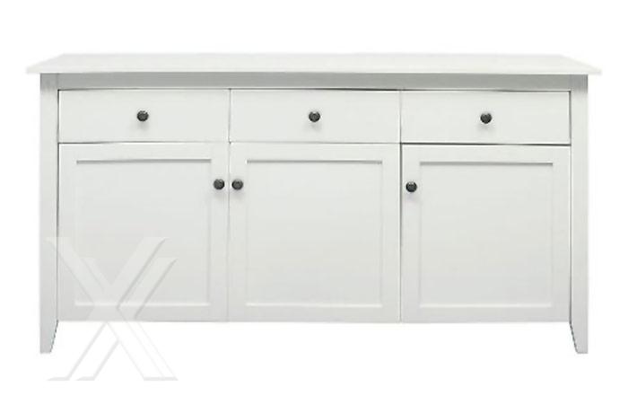 Sideboard Schrank Kommode Esszimmerschrank in weiß lackiert mit 3 ... | {Esszimmerschrank weiß 51}