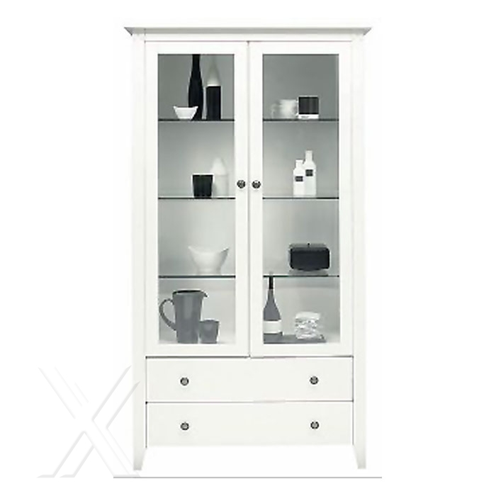 vitrine vitrinenschrank k chenschrank schrank landhaus wei lackiert glast ren ebay. Black Bedroom Furniture Sets. Home Design Ideas