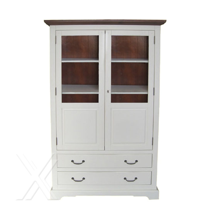 vitrine highboard teilmassiv akazie weiss cognacfarben landhausstil 110cm breite. Black Bedroom Furniture Sets. Home Design Ideas