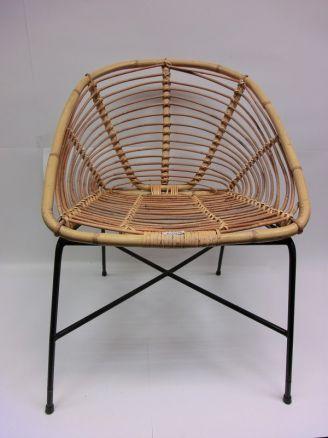 Ddr korbstuhl korb bambus metallgestell design retro 60er for Design korbstuhl