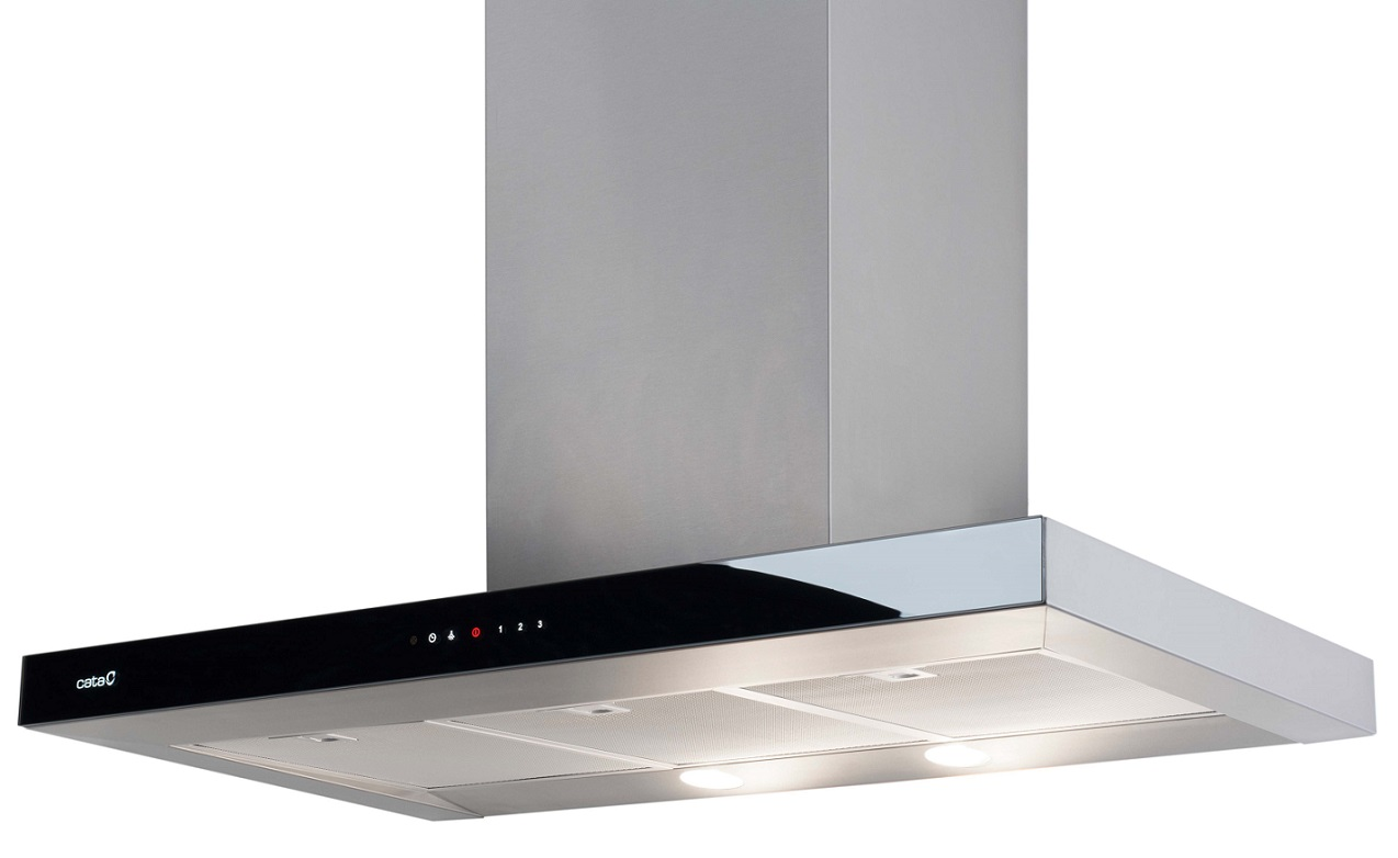 design glas edelstahl flachpaneel dunstabzugshaube cata selene 900 1200 m h. Black Bedroom Furniture Sets. Home Design Ideas