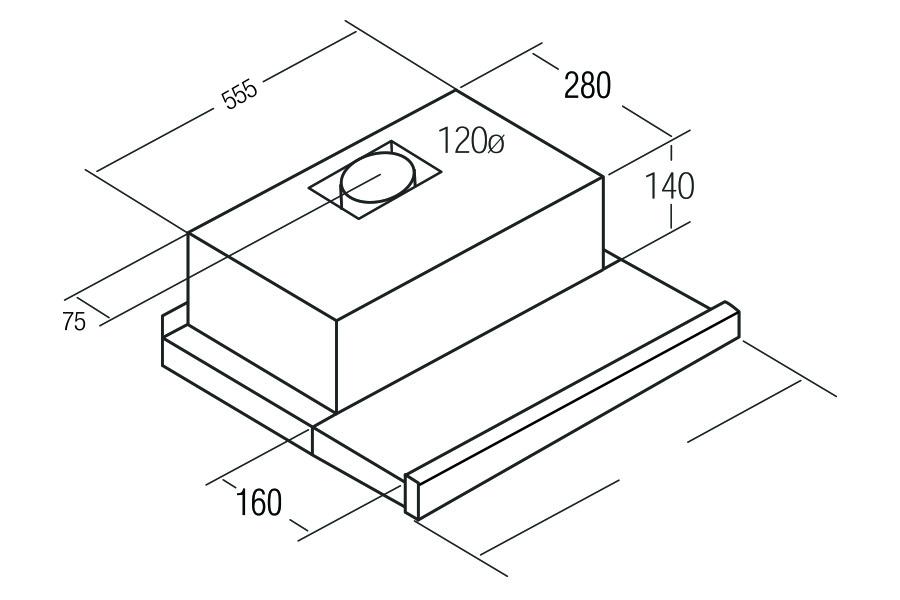 flachschirmhaube dunstabzugshaube cata tf 2003 600 schwarz 60 cm unterbauhaube ebay. Black Bedroom Furniture Sets. Home Design Ideas