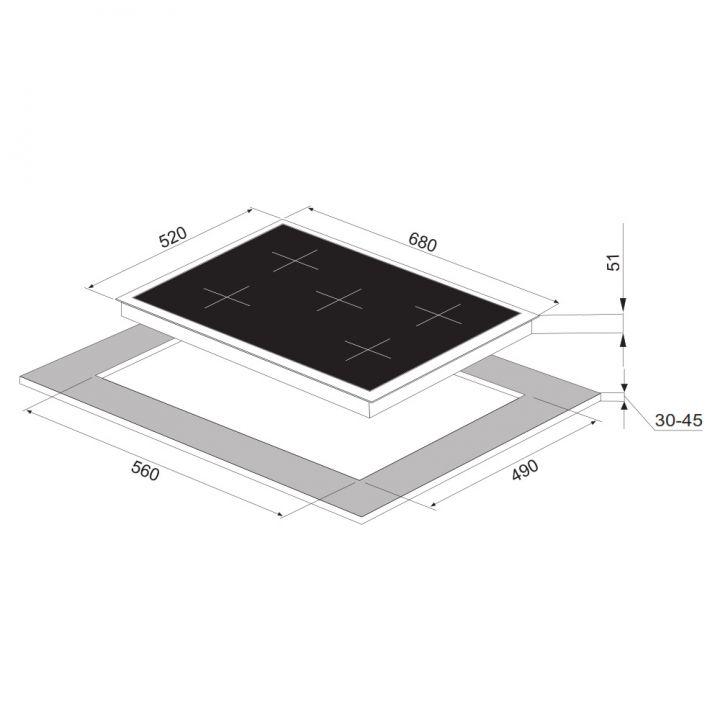 gaskochfeld schwarz 5 sabaf brenner autark dual wok 70 cm 60 cm schrank lpg ebay. Black Bedroom Furniture Sets. Home Design Ideas