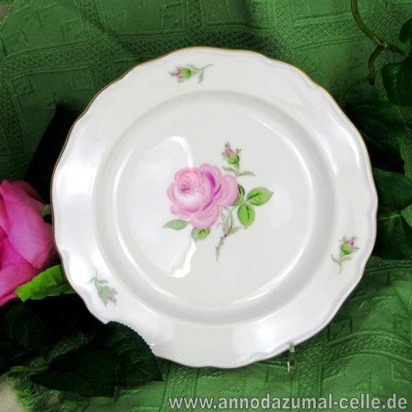 Teller meissen rote rose porcelain plate ebay for Spiegel und fahne