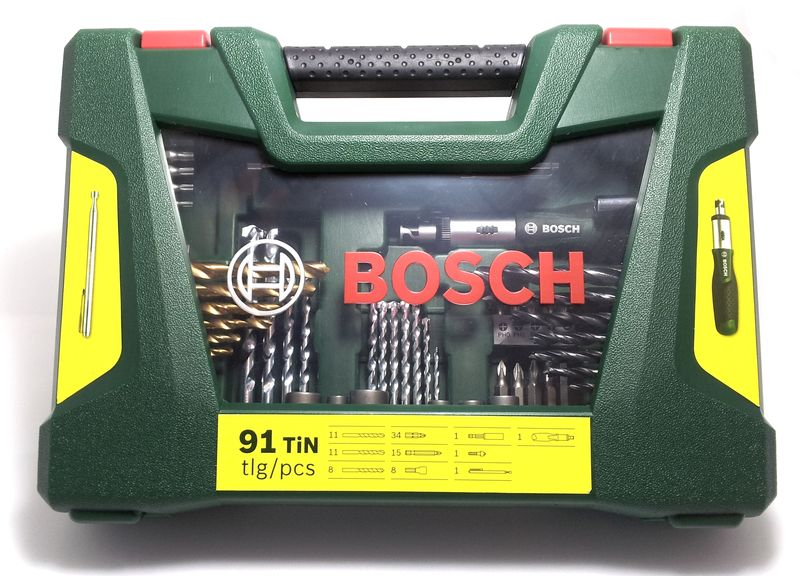 bosch 2607017195 v line tin bohrer bit set ratschen schraubendreher 91tlg ebay. Black Bedroom Furniture Sets. Home Design Ideas