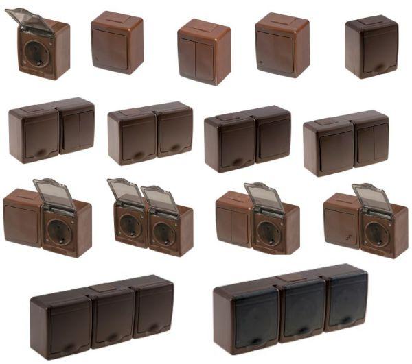 aufputzsteckdosen braun ip44 steckdose schuko schalter. Black Bedroom Furniture Sets. Home Design Ideas
