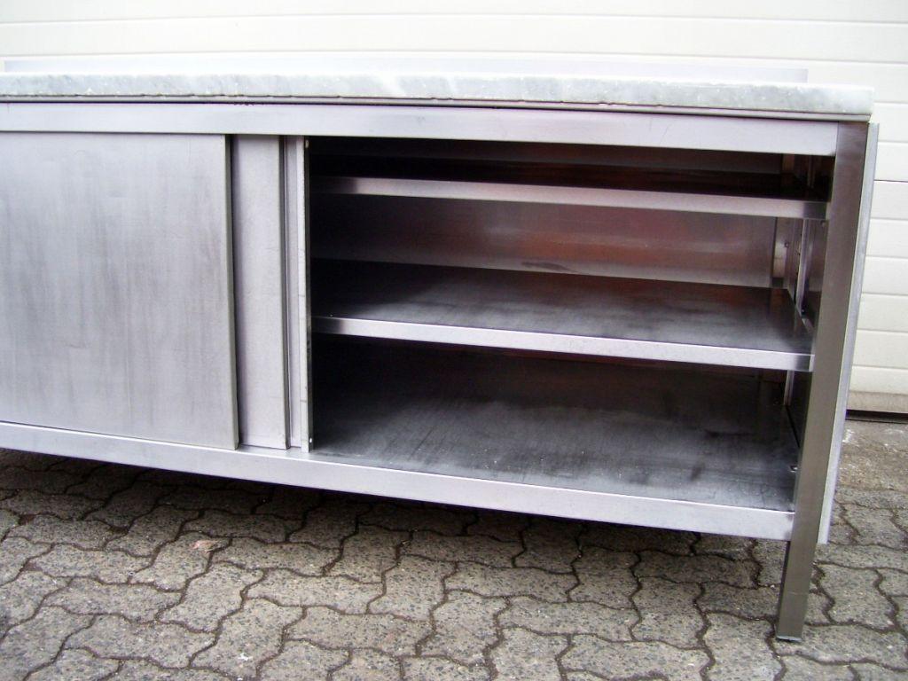 arbeitstisch 2000 mit marmorplatte edelstahlm bel edelstahl tisch ebay. Black Bedroom Furniture Sets. Home Design Ideas