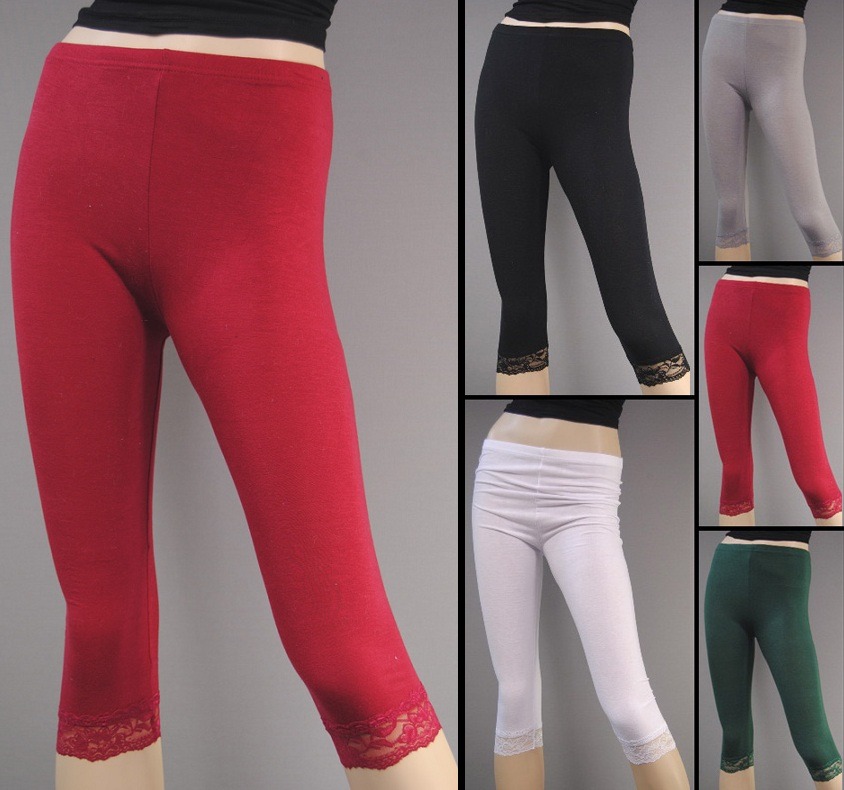 3 4 leggings mit spitze leichte baumwolle damen leggins. Black Bedroom Furniture Sets. Home Design Ideas