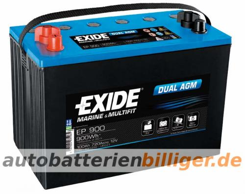 exide dual agm ep900 100ah 900wh 12v boot caravan camping. Black Bedroom Furniture Sets. Home Design Ideas