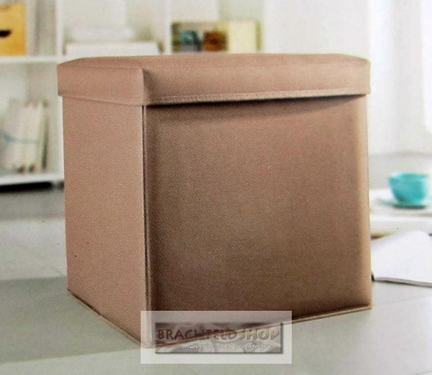 aufbewahrungshocker box hocker beige zusammenfaltbar 50 l volumen ebay. Black Bedroom Furniture Sets. Home Design Ideas