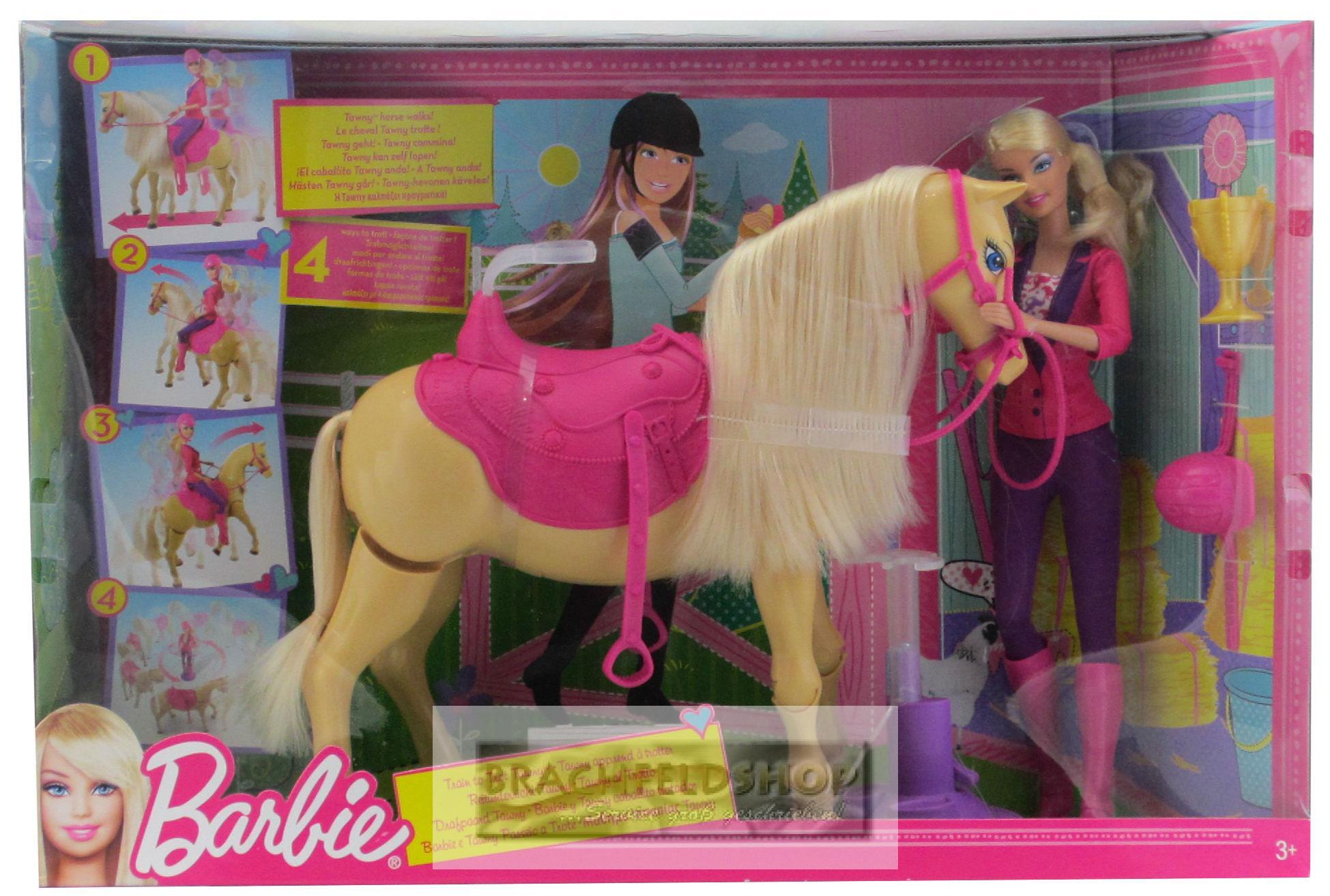 mattel x2630 barbie tawny reitunterricht mit puppe und pferd ebay. Black Bedroom Furniture Sets. Home Design Ideas