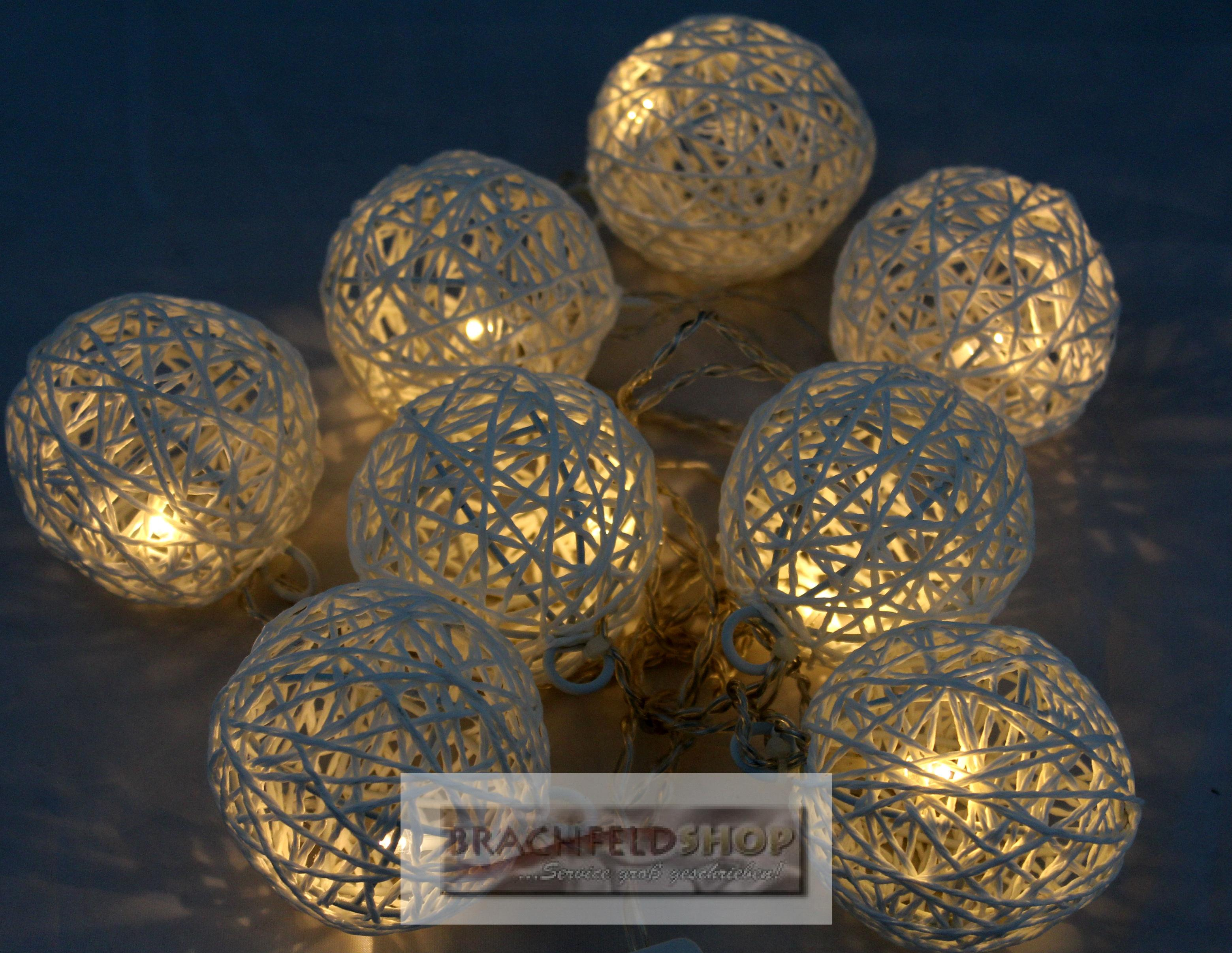 led lichterkette kugel ball 8 rattankugeln dekoration licht warmwei ebay. Black Bedroom Furniture Sets. Home Design Ideas