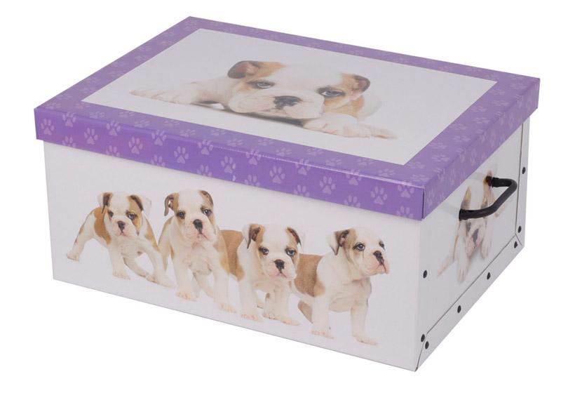 2er aufbewahrungs box mit deckel hundemuster kiste karton schachtel pappe ebay. Black Bedroom Furniture Sets. Home Design Ideas