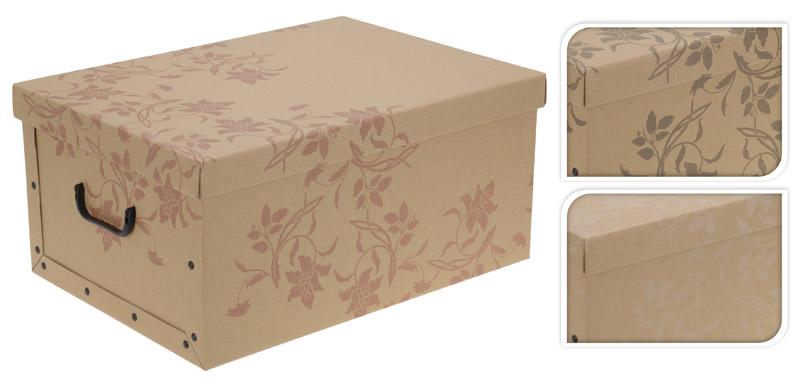2er Aufbewahrungs Box mit Deckel Naturmuster Kiste Karton