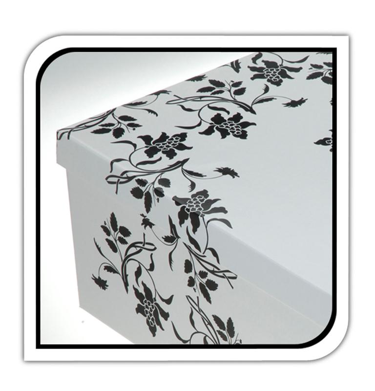 2er aufbewahrungs box mit deckel floralmuster kiste karton schachtel ebay. Black Bedroom Furniture Sets. Home Design Ideas