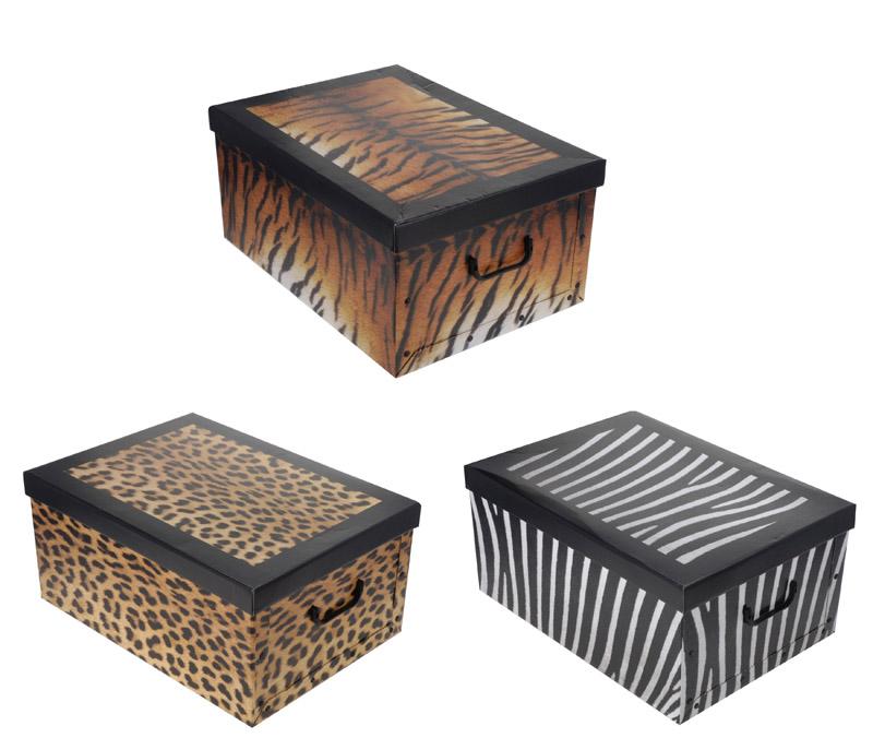 2x aufbewahrungs box mit deckel tierfellmuster kiste. Black Bedroom Furniture Sets. Home Design Ideas