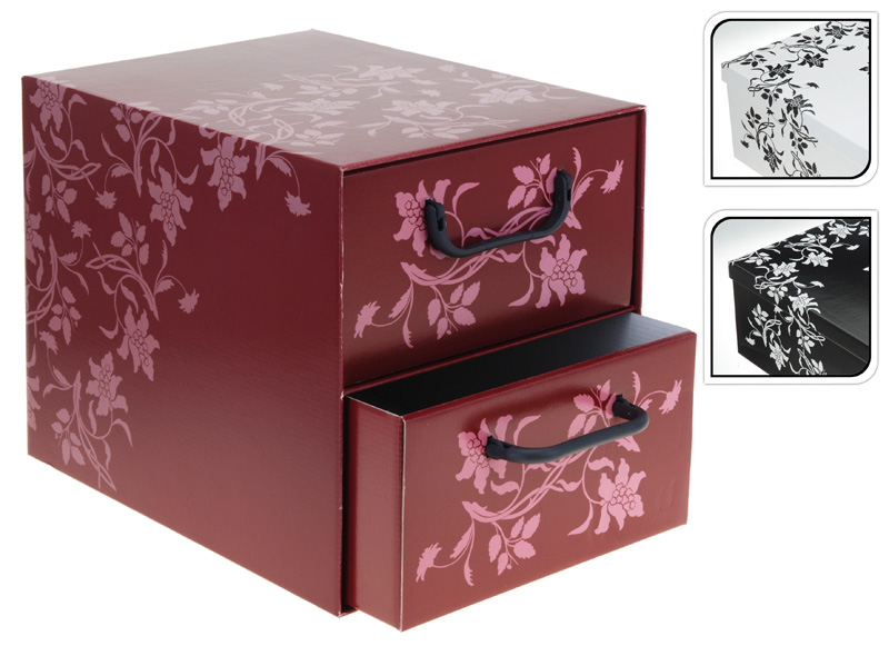 aufbewahrungs box mit 2 schubladen floralmuster kiste. Black Bedroom Furniture Sets. Home Design Ideas