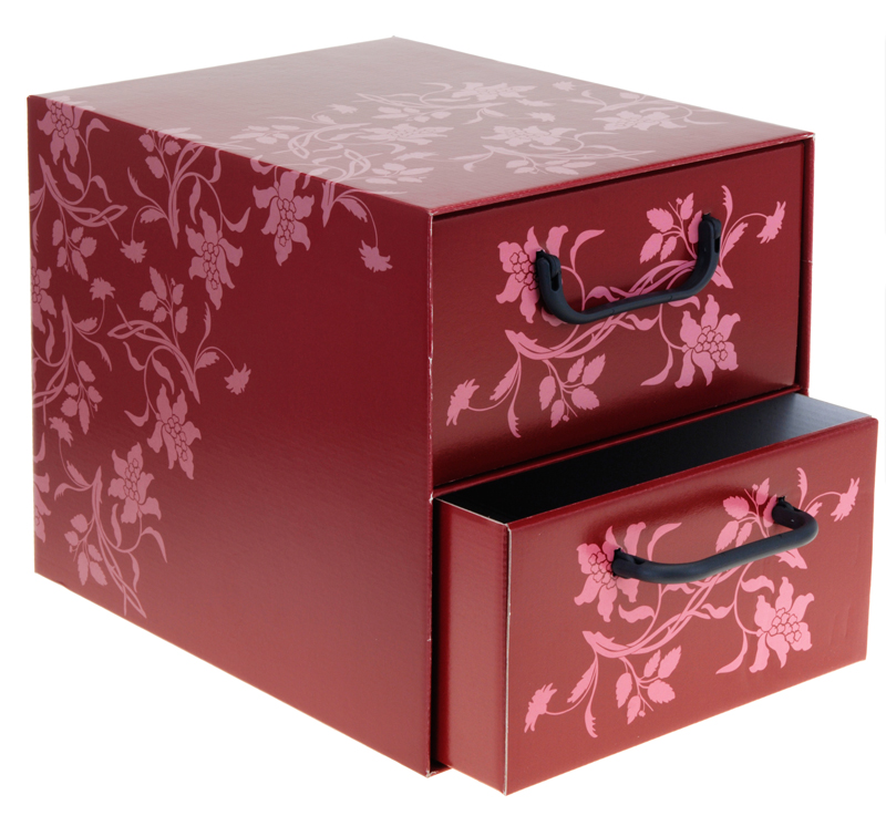 aufbewahrungs box mit 2 schubladen floralmuster kiste karton schachtel ebay. Black Bedroom Furniture Sets. Home Design Ideas