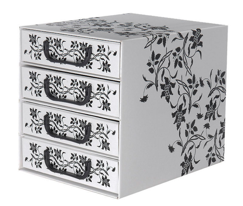 aufbewahrungs box mit 4 schubladen floralmuster kiste karton schachtel ebay. Black Bedroom Furniture Sets. Home Design Ideas