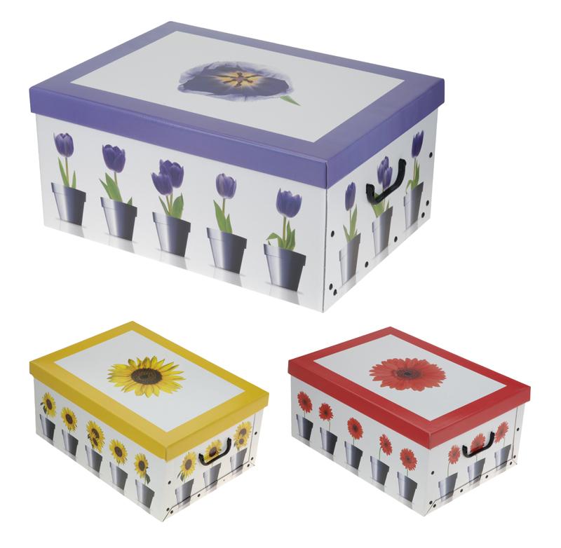 2er aufbewahrungs box mit deckel blumenmuster kiste karton schachtel ebay. Black Bedroom Furniture Sets. Home Design Ideas