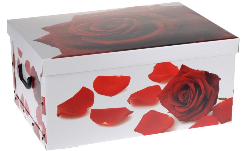 2x aufbewahrungs box mit deckel rosenmuster kiste karton. Black Bedroom Furniture Sets. Home Design Ideas