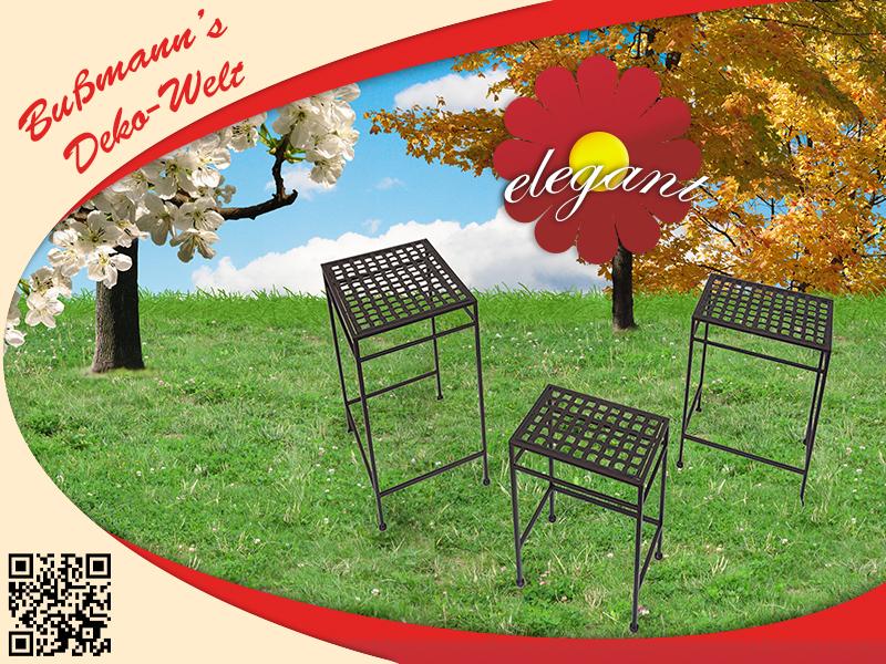 3er metalltisch braun dekotisch gartentisch beistelltisch. Black Bedroom Furniture Sets. Home Design Ideas