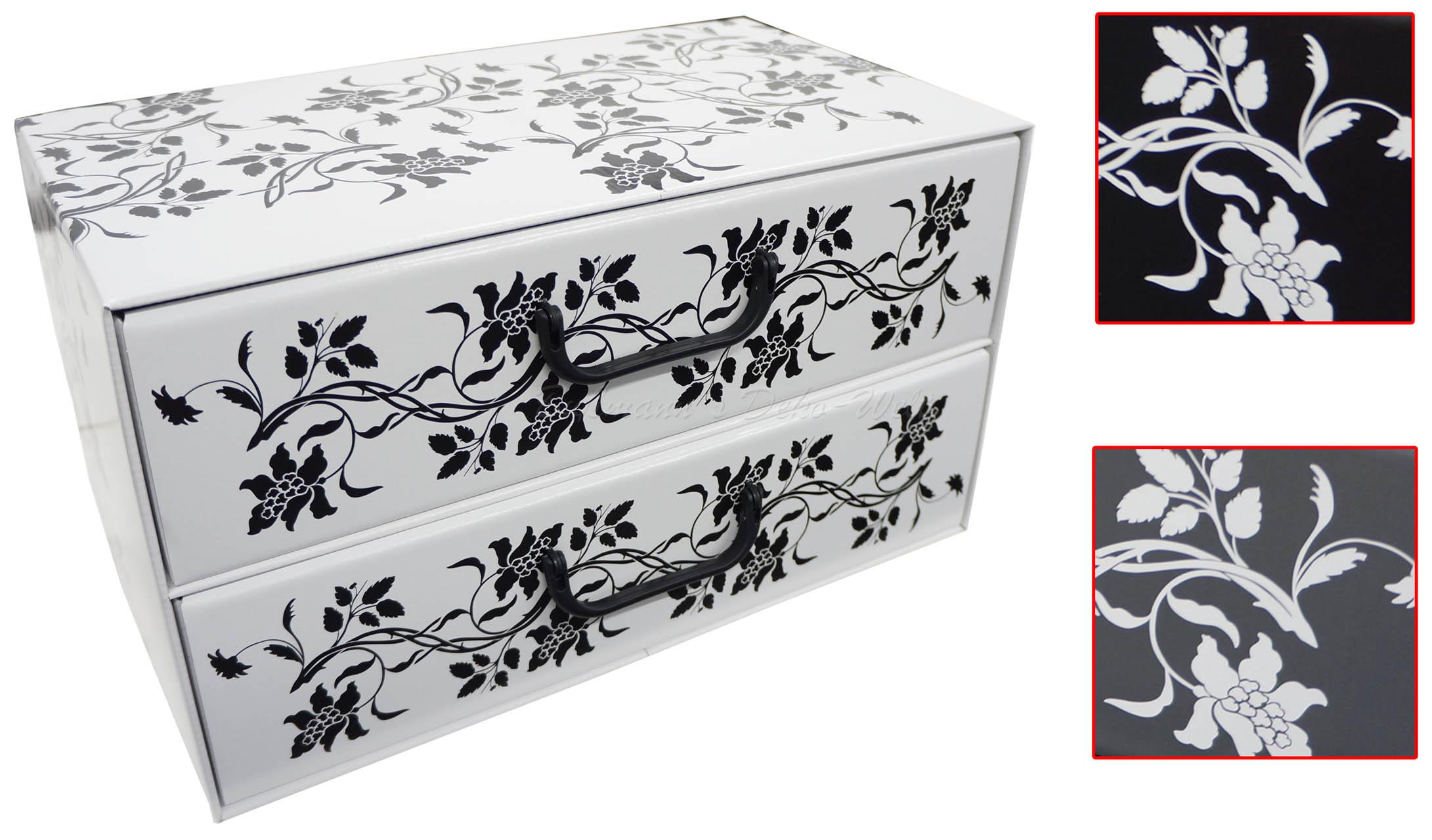 2x aufbewahrungs box mit 2 schubladen floralmuster kiste. Black Bedroom Furniture Sets. Home Design Ideas