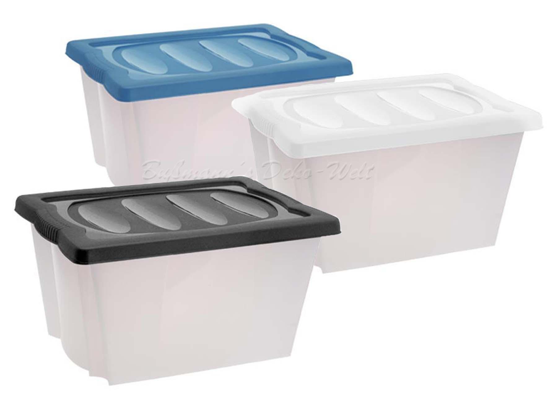 2 stapelboxen 20 l mit deckel aufbewahrungsbox kunststoffbox kisten box boxen ebay. Black Bedroom Furniture Sets. Home Design Ideas
