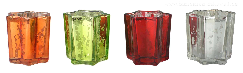 12 teelichthalter set glas in sternform kerzenhalter kerze. Black Bedroom Furniture Sets. Home Design Ideas