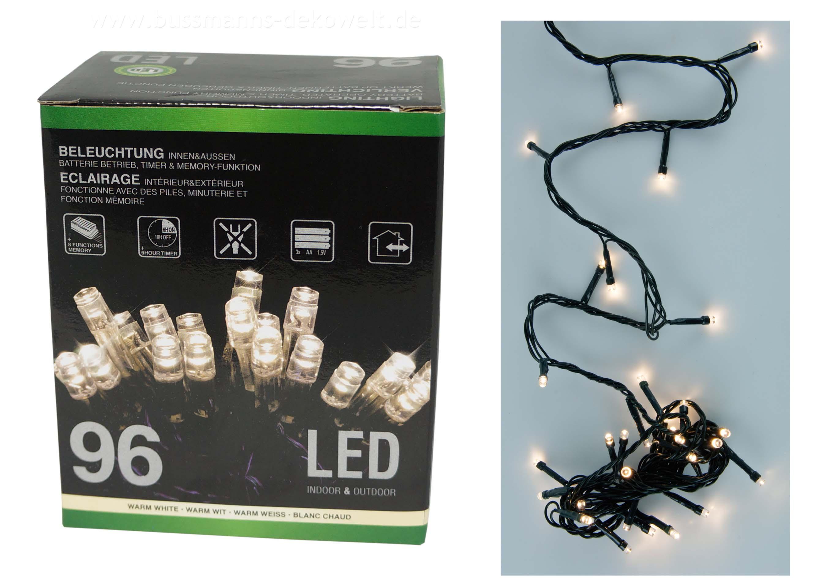 4x led lichterkette 96 leds warmwei batterie timer weihnachten innen au en ebay. Black Bedroom Furniture Sets. Home Design Ideas