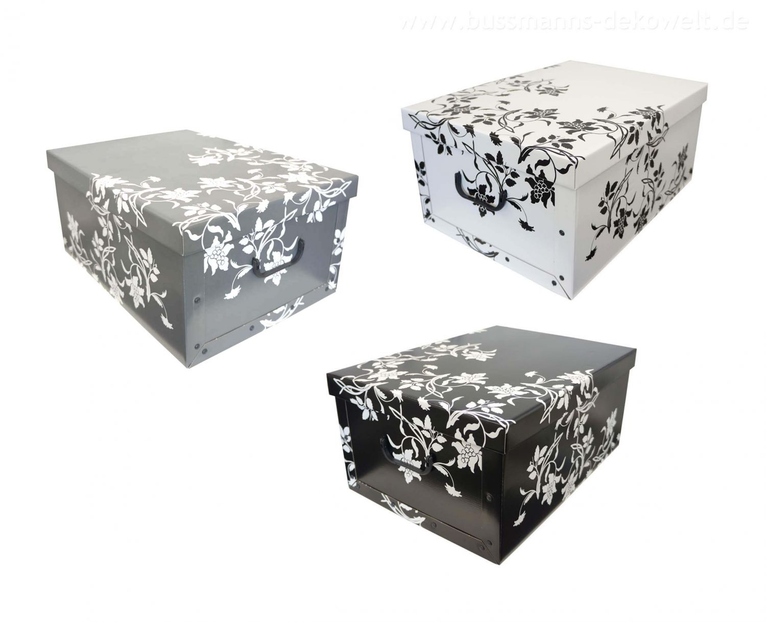 2x aufbewahrungs box mit deckel floralmuster kiste karton schachtel ebay. Black Bedroom Furniture Sets. Home Design Ideas