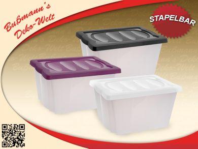 2 stapelbox mit deckel lifestyle 20 l aufbewahrungsbox kunststoffbox kisten box ebay. Black Bedroom Furniture Sets. Home Design Ideas