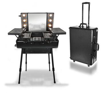 cosmetic professioneles stylisten studio auf rollen inkl licht farbe schwarz ebay. Black Bedroom Furniture Sets. Home Design Ideas