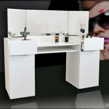kosmetiktisch frisierkommode schminktisch ft 03 weiss megaoptik ebay. Black Bedroom Furniture Sets. Home Design Ideas