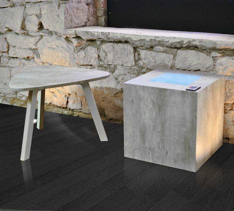 Dekosäule Cube Beistelltisch in Betonoptik LED Beleuchtung Wohnung ...