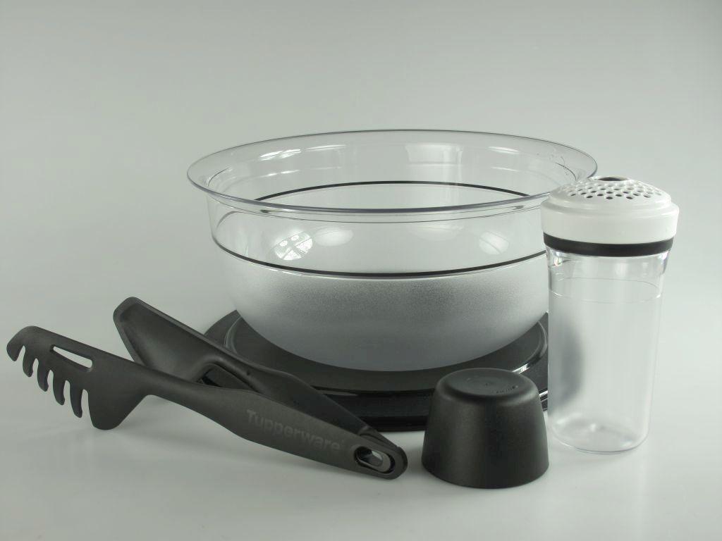 tupperware set 3 tafelperle 6 0 l sch ssel parmesanstreuer nudelzange schwarz. Black Bedroom Furniture Sets. Home Design Ideas
