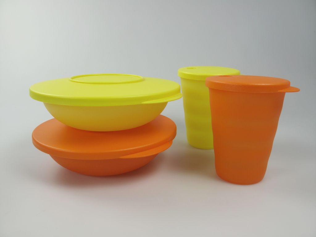 tupperware junge welle kleine servierschalen trinkhalm becher gelb orange ebay. Black Bedroom Furniture Sets. Home Design Ideas