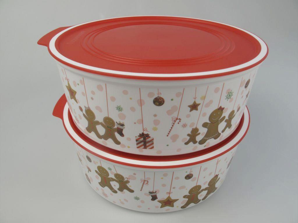 tupperware a195 2 quadro runde weihnachten 1 5 l runde keksdose dose lebkuchen ebay. Black Bedroom Furniture Sets. Home Design Ideas