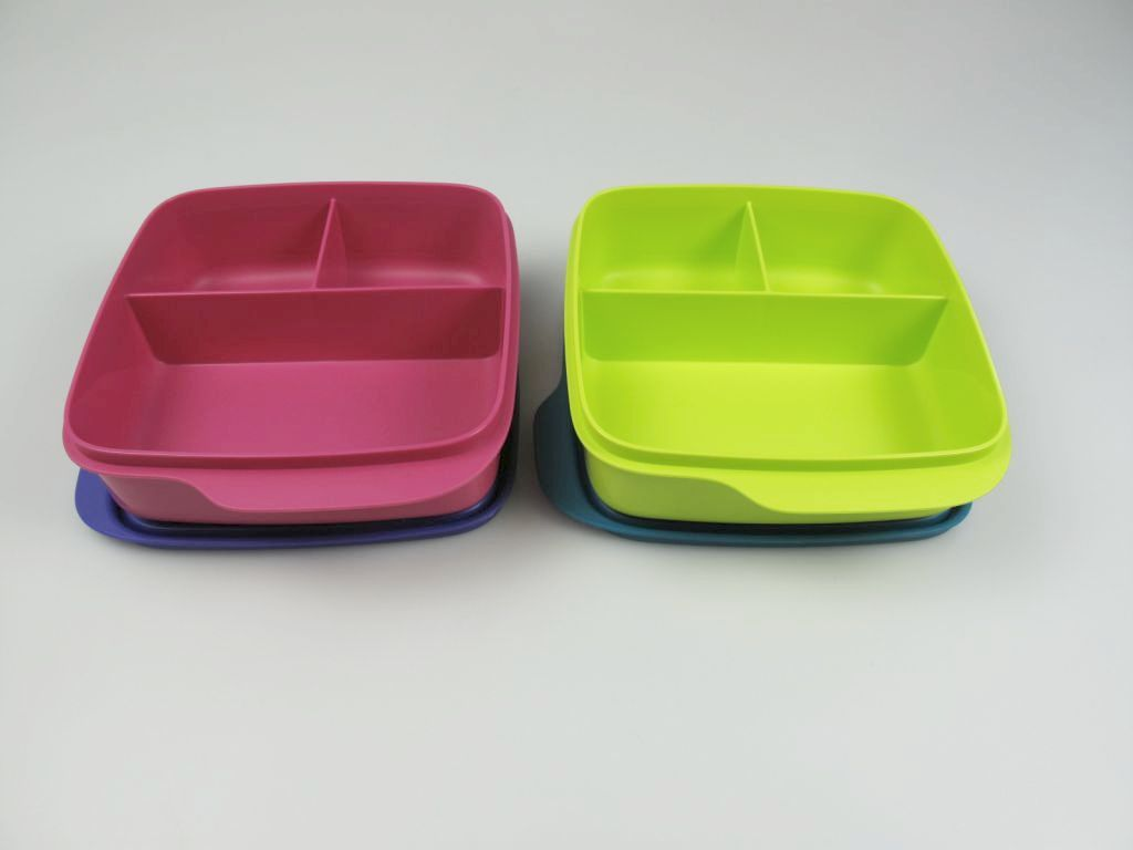 tupperware lunchbox beh lter pink lila gr n blau mit trennwand 550 ml brotbox ebay. Black Bedroom Furniture Sets. Home Design Ideas
