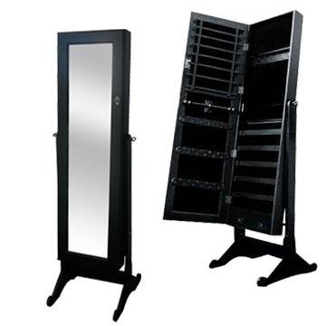 Schmuckschrank-Spiegel-Spiegelschrank-Standspiegel-Schmuckkasten-Ohrringe-Kette